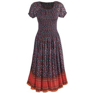 Women's Dress - Smocked Bodice Dainty Floral Print Short Sleeve Dress