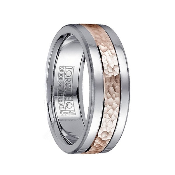 Dual Grooved Polished Cobalt Men's Wedding Band with Hammered 14k Rose Gold Inlay by Crown Ring - 7.5mm