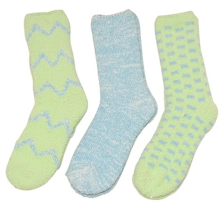 Gold Medal Girls Blue Lime Chevron Geometric Pattern 3 Pc Pack Socks 9-11