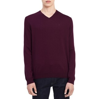 Calvin Klein Mens Pullover Sweater Wool V-Neck