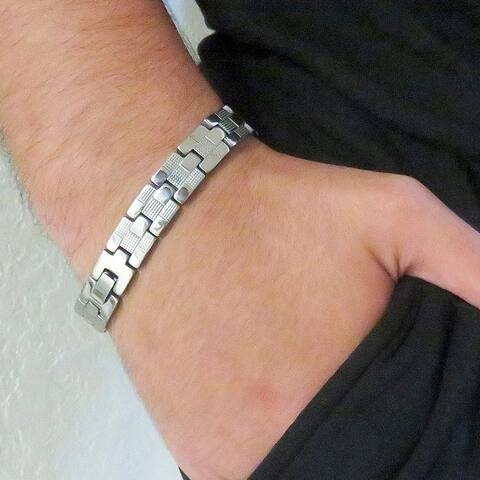 Men Stainless Steel Link Bracelet - Silver