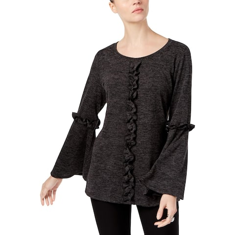 NY Collection Womens Blouse Ruffled Bell Sleeves