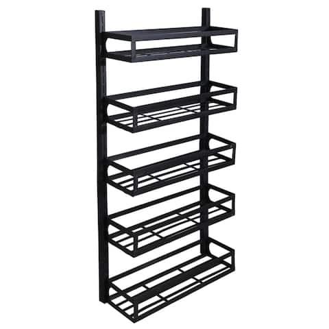 Wall Mount Spice Rack Organizer 5 Tier Adjustable Hanging Spice Shelf