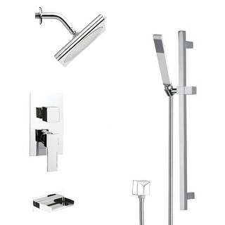 Nameeks TSR9193  Remer Shower Tub and Shower Trim Package with Single Function Rain Shower head and Hand Shower - Chrome