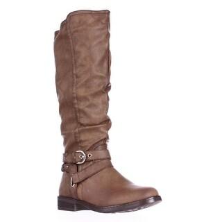 XOXO Martin Wide Calf Braided Strap Riding Boots, Tan