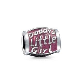 Bling Jewelry Purple Enamel Daddys Little Girl Barrel Bead Charm Silver