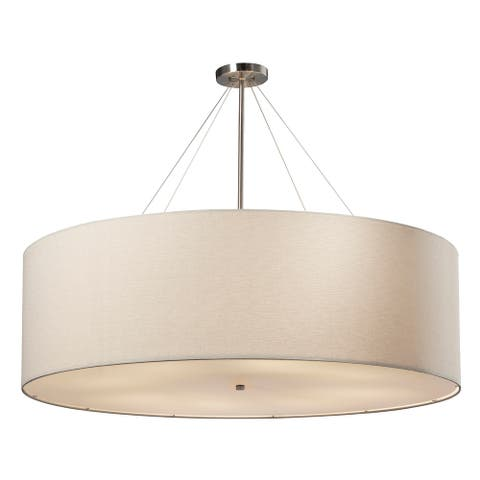 EVOLV Textile Classic 48-inch Brushed Nickel Drum Pendant, White Shade