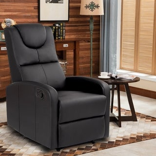 Goplus Single Manual Recliner Chair Lounger Sofa Padded Seat Chaise Couch Home Theater - Black