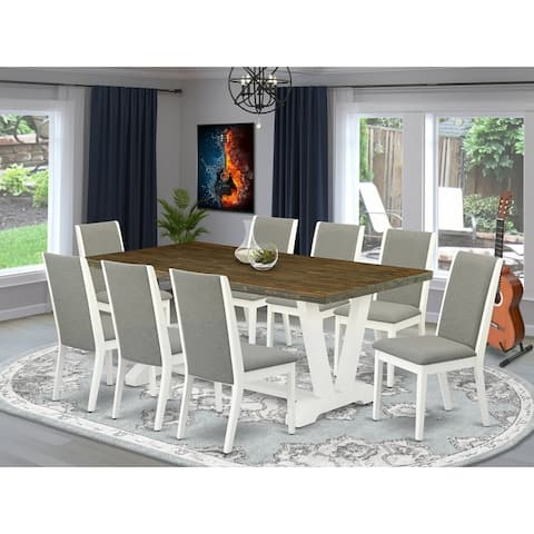V077LA206-5 5-Piece Dining Table Set - Dining Table and 4 Kitchen Parson Chairs - Linen White Finish (Pieces Option)