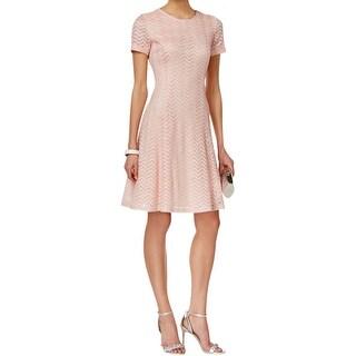SLNY Womens Missy Casual Dress Chevron-Lace Metallic