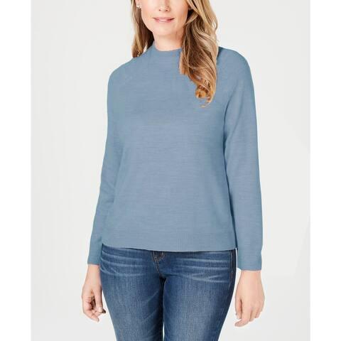Karen Scott Women's Zip-Back Mock-Neck Sweater Blue Size Extra Large