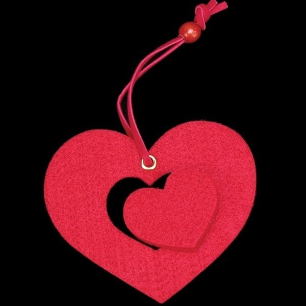 Club Pack of 25 Bright Red Large Heart With Small Punch Out Felt Ornaments