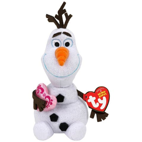 """Frozen Olaf the Snowman with Heart 8"""" Beanie Baby - Multi"""