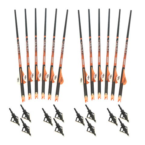 Ravin R138 Carbon 400 Grain .003 Crossbow Arrows and HME Broadheads (12-Pack)