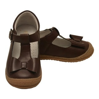 Angel Little Girls Brown Bow Accent T-Strap Autumn Shoes