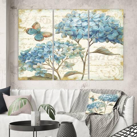 Designart 'butterfly Blue Garden II' Farmhouse Canvas Art