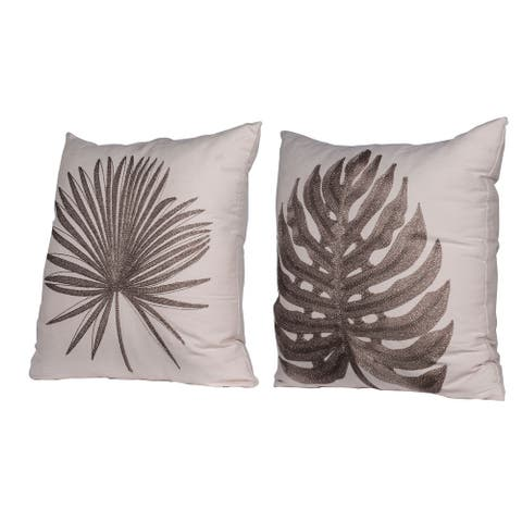 A&B Home Cream 18-inch Embroidery Throw Pillows (Set of 2)