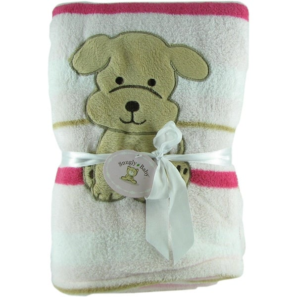 Snugly Baby Pink Fleece Baby Blanket w/ Embroidered Puppy
