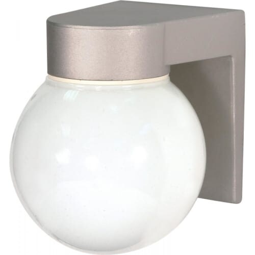 "Nuvo Lighting 77/139 Single Light 8"" Wall Mounted Utility Fixture with White Glass Globe Shade - satin aluminum"
