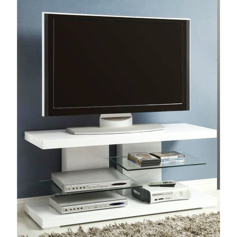 Modern Chic Design Glossy White Display TV Console with Glass Shelves