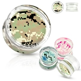 Pixelated Camouflage Print Encased Clear Acrylic Saddle Fit Plug (Sold Individually)