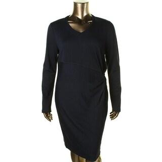 Elie Tahari Womens Twist Front Knit Wear to Work Dress