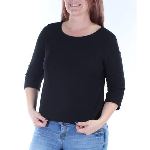 KIIND OF Womens Black 3/4 Sleeve Jewel Neck Top Size: L