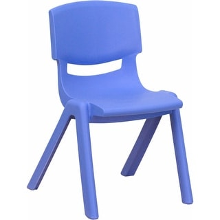 Offex Blue Plastic Stackable School Chair with 12'' Seat Height [OF-YU-YCX-001-BLUE-GG]