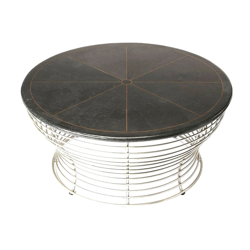 Fabulous Modern Fossil Stone And Metal Round Coffee Table Black Inzonedesignstudio Interior Chair Design Inzonedesignstudiocom