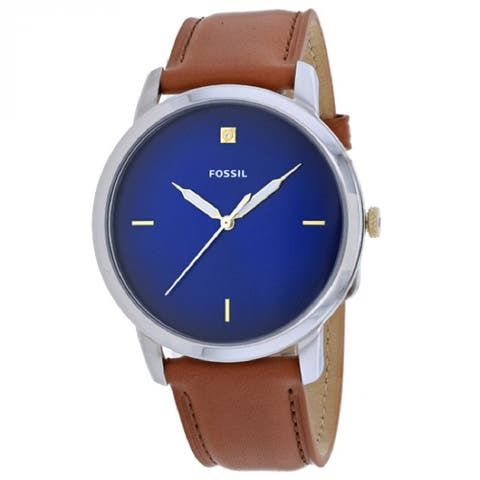 Fossil Men's FS5499 Minimalist Blue Dial Stainless Steel Case with Buckle Band Closure Quartz Watch