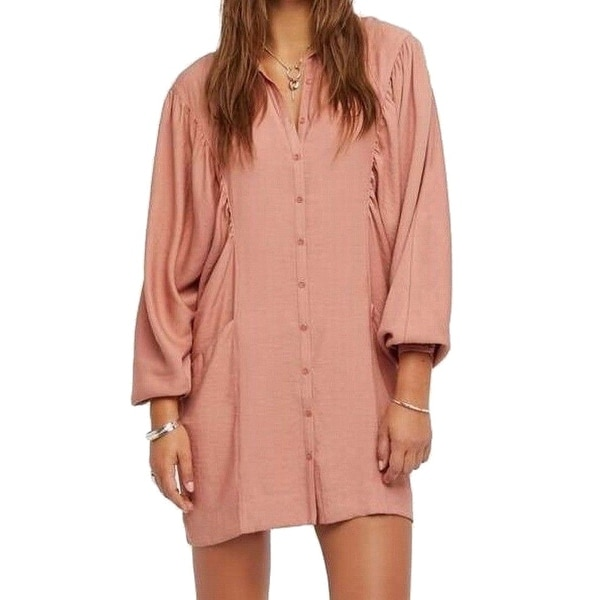 a966a9be2002 Shop Free People Pink Women's Size Small S Shirred Collar Shirt Dress -  Free Shipping Today - Overstock - 22435625