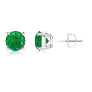 Angara 4 Prong Set Basket Round Emerald Stud Earrings