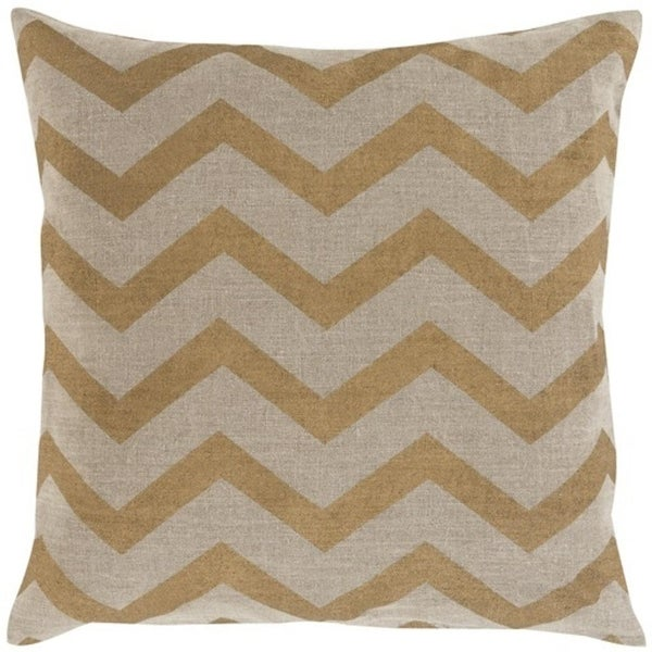 "22"" Gold and Beige Metallic Stamped Chevrons Decorative Throw Pillow- Down Filler"