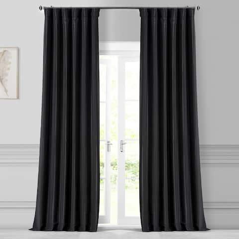Exclusive Fabrics Solid Faux Silk Taffeta Jet Black Curtain Panel