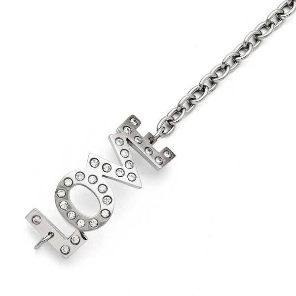 Chisel Stainless Steel CZ Love Polished Bracelet
