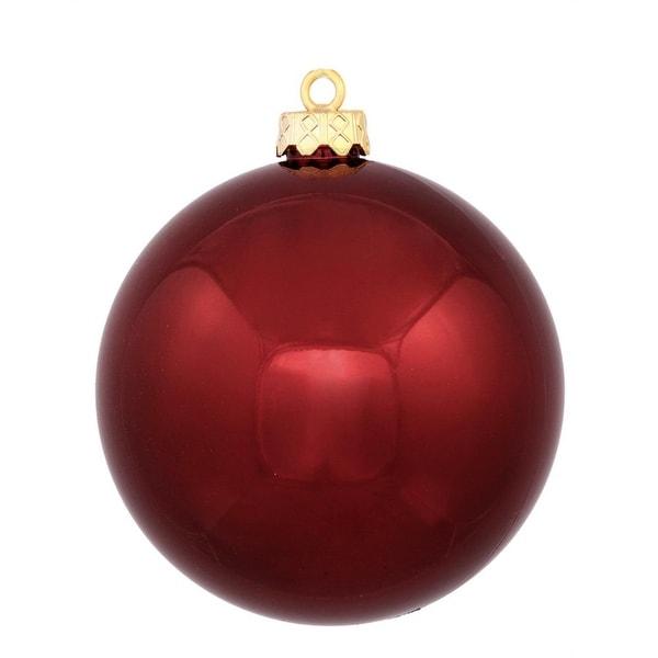 "Shiny Burgundy Red UV Resistant Commercial Shatterproof Christmas Ball Ornament 4"" (100mm)"