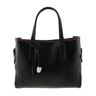 London Fog Womens Tote Handbag Faux Leather Contrast Stitch - Large