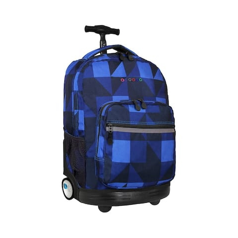 J World New York Sunrise 18 Inch Rolling Backpack, Block Navy