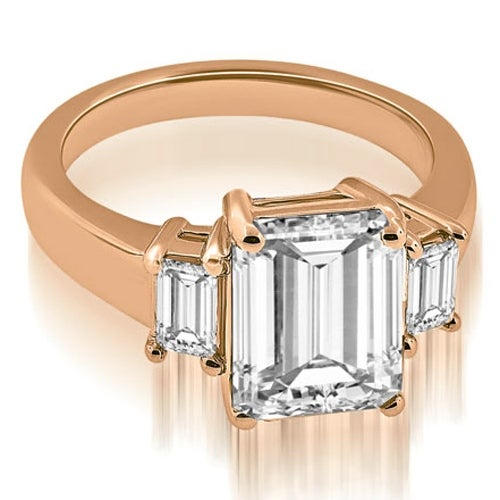 1.50 cttw. 14K Rose Gold Three-Stone Emerald Cut Diamond Engagement Ring