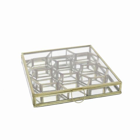 Modern Designed Honeycomb Box with Separate Compartments, Gold and Clear
