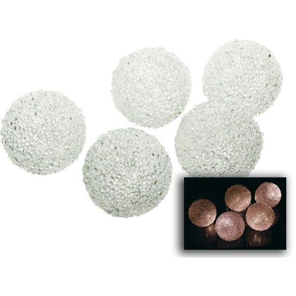 Set of 5 Battery Operated LED Warm Clear Icy Ball Christmas Lights - Silver Wire