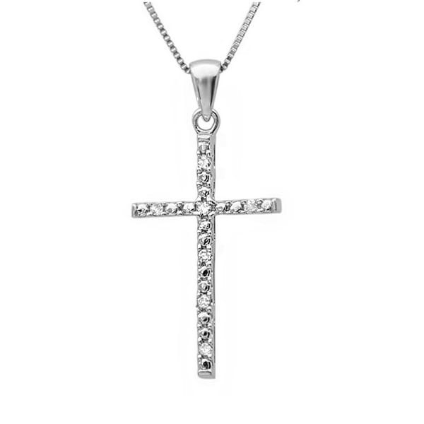 Amanda Rose Diamond Cross Pendant-Necklace in Sterling Silver on an 18in Box Chain