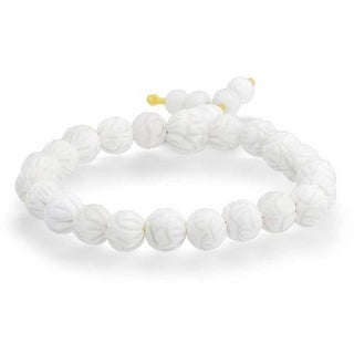 Shamballa Inspired Mala Bracelet White Shell Lotus Flower