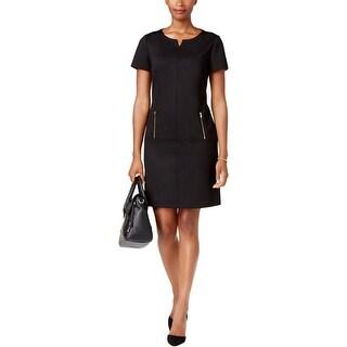 Tahari ASL Womens Wear to Work Dress Zipper-Pockets Knee-Length