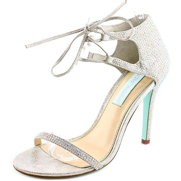Betsey Johnson Gabi Women Open Toe Canvas Silver Sandals
