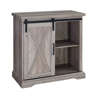 """Delacora WE-BDF32ALXD  32"""" Wide Two Shelf Laminate and Metal Accent Cabinet with Barn Door"""