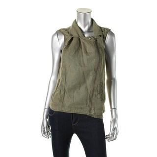 Michael Stars Womens Linen Zip Front Casual Vest - XS