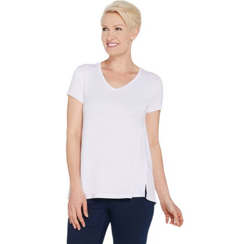 H by Halston Womens Plus V-Neck Top with Forward Notch Detail 1X White A306231