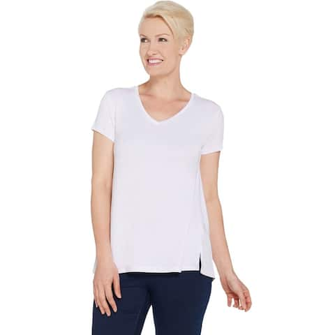H by Halston Womens Plus V-Neck Top with Forward Notch Detail 3X White A306231