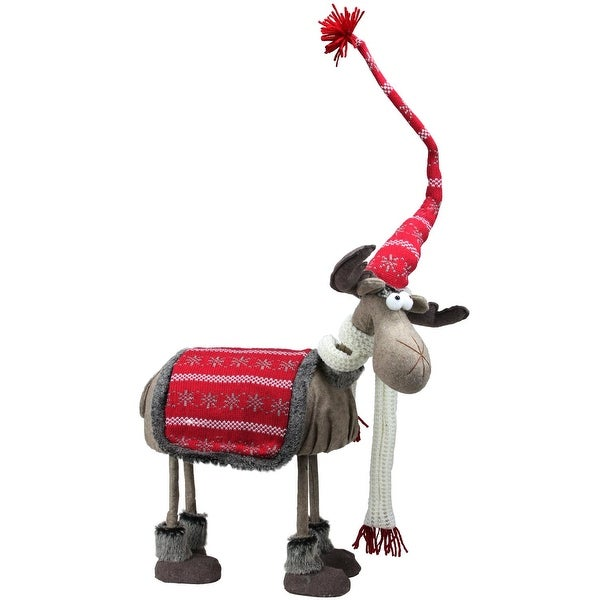 """18"""" Winter Ready Bobble Action Nordic Christmas Standing Moose Figure - RED"""